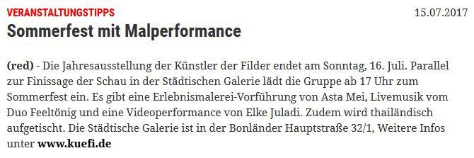 Eßlinger Zeitung Ankündigung Malperformance Asta Mei